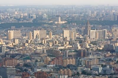 вид Москвы, панорама с высоты птичьего полета, Новый Арбат