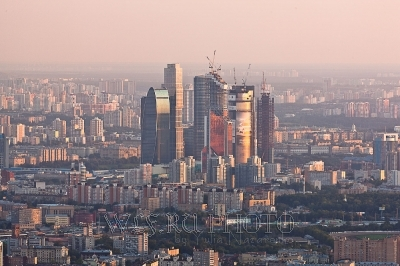 панорама Москвы сверху, вид на Москва-Сити