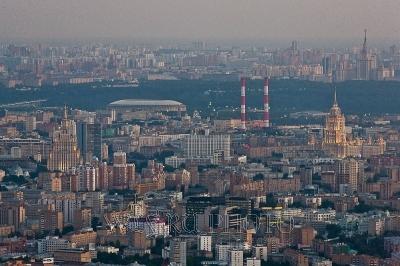 панорама вечерней Москвы с высоты птичьего полета