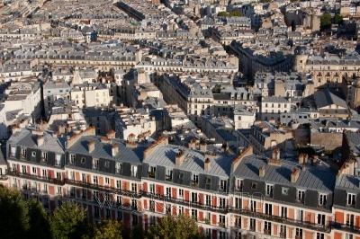 панорама Парижа сверху, большая фотография