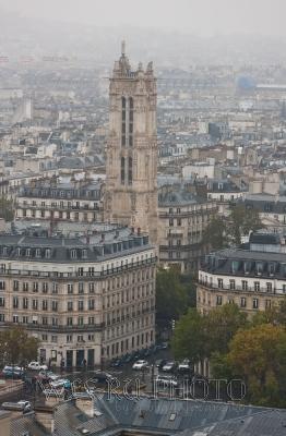 Башня Сен-Жак в Париже, панорама, большое фото