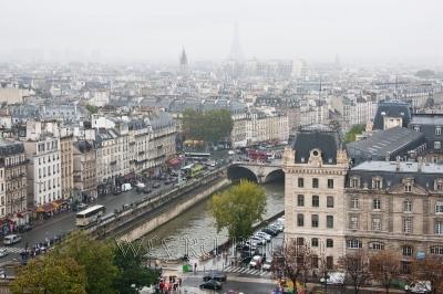 панорама парижа с воздушной перспективой, большое фото