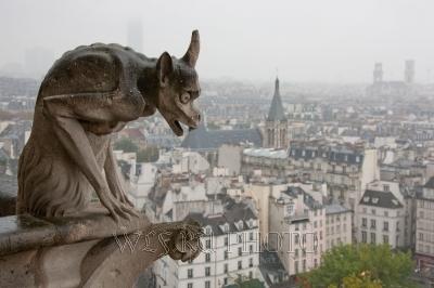 Горгулия собора Нотр Дам де Пари над Парижем, панорама