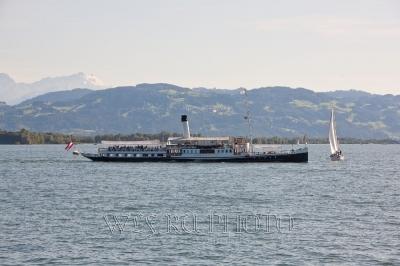 фото старого колесного парохода на Боденском озере