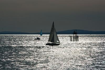 фото парусника на воде напротив солнца