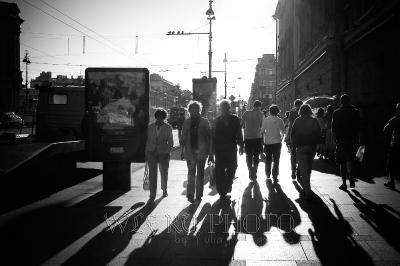 Невский проспект черно-белое фото