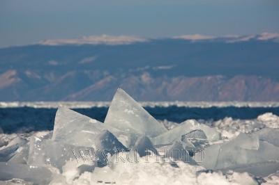 Ледяные глыбы, зимний пейзаж, большое фото