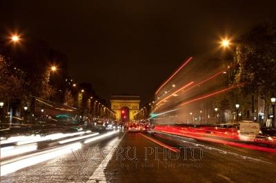 Триумфальная Арка, ночной Париж, перспектива, площадь Звезды
