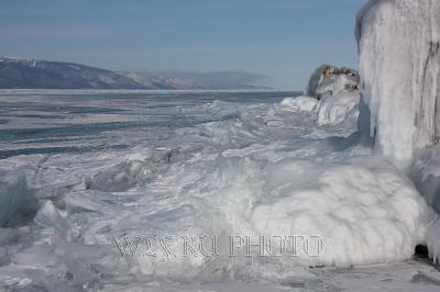 зимний пейзаж, озеро, торосы фото